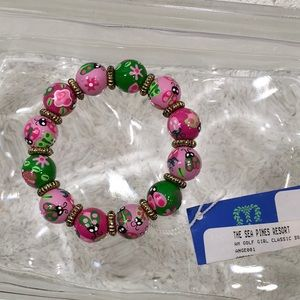 Ladybug pink and green elastic bracelet